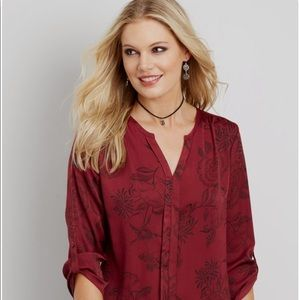 Silk perfect blouse with floral pattern